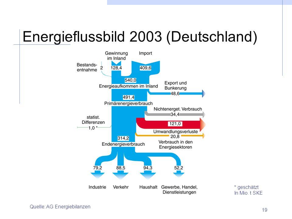 19 Energieflussbild 2003 (Deutschland) Quelle: AG Energiebilanzen * geschätzt In Mio. t SKE
