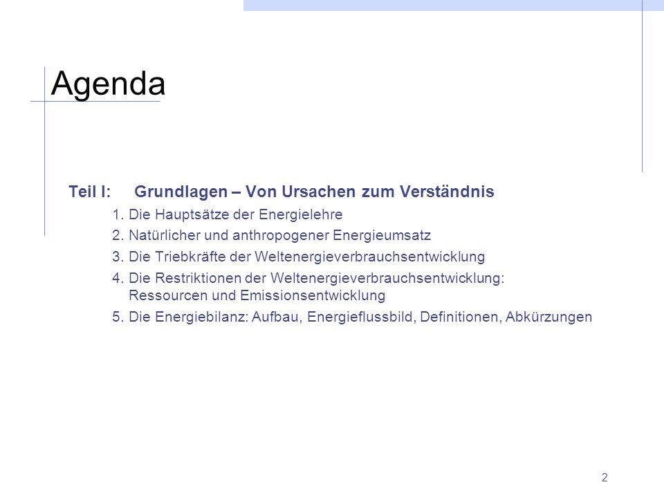 2 Agenda Teil I:Grundlagen – Von Ursachen zum Verständnis 1. Die Hauptsätze der Energielehre 2. Natürlicher und anthropogener Energieumsatz 3. Die Tri