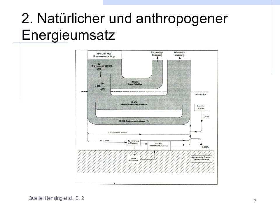 7 2. Natürlicher und anthropogener Energieumsatz Quelle: Hensing et al., S. 2