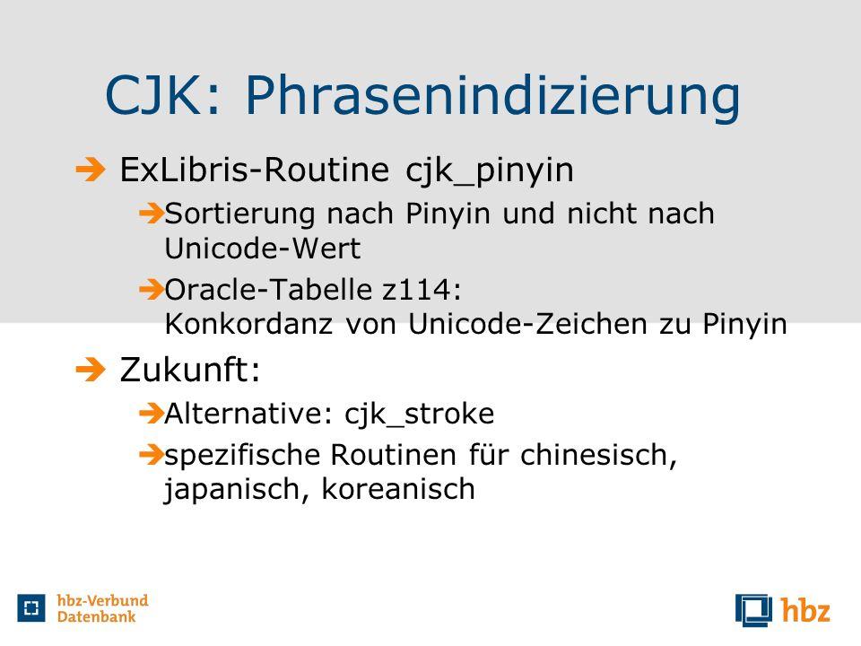 CJK: Phrasenindizierung ExLibris-Routine cjk_pinyin Sortierung nach Pinyin und nicht nach Unicode-Wert Oracle-Tabelle z114: Konkordanz von Unicode-Zei