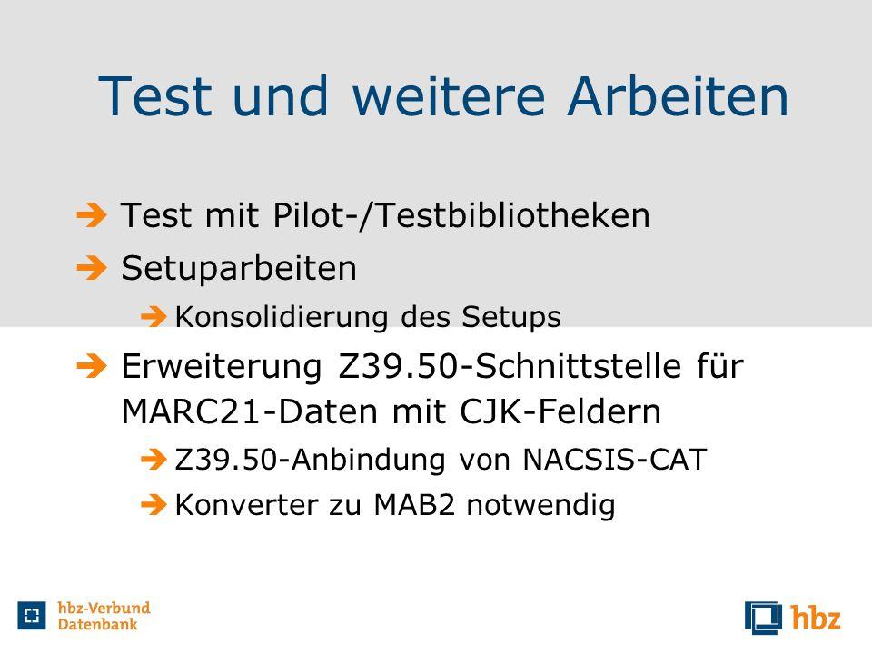Test und weitere Arbeiten Test mit Pilot-/Testbibliotheken Setuparbeiten Konsolidierung des Setups Erweiterung Z39.50-Schnittstelle für MARC21-Daten m