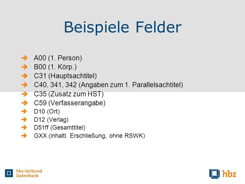 Beispiele Felder A00 (1. Person) B00 (1. Körp.) C31 (Hauptsachtitel) C40, 341, 342 (Angaben zum 1. Parallelsachtitel) C35 (Zusatz zum HST) C59 (Verfas