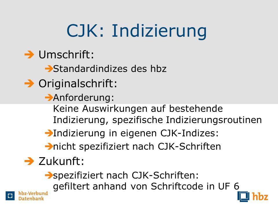 CJK: Indizierung Umschrift: Standardindizes des hbz Originalschrift: Anforderung: Keine Auswirkungen auf bestehende Indizierung, spezifische Indizieru