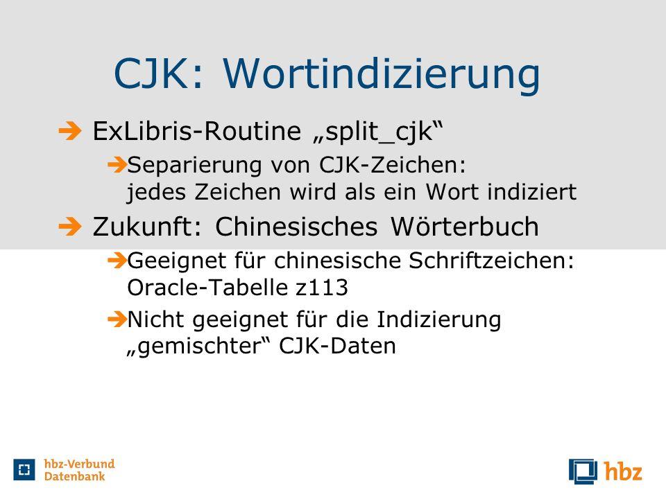 CJK: Wortindizierung ExLibris-Routine split_cjk Separierung von CJK-Zeichen: jedes Zeichen wird als ein Wort indiziert Zukunft: Chinesisches Wörterbuc