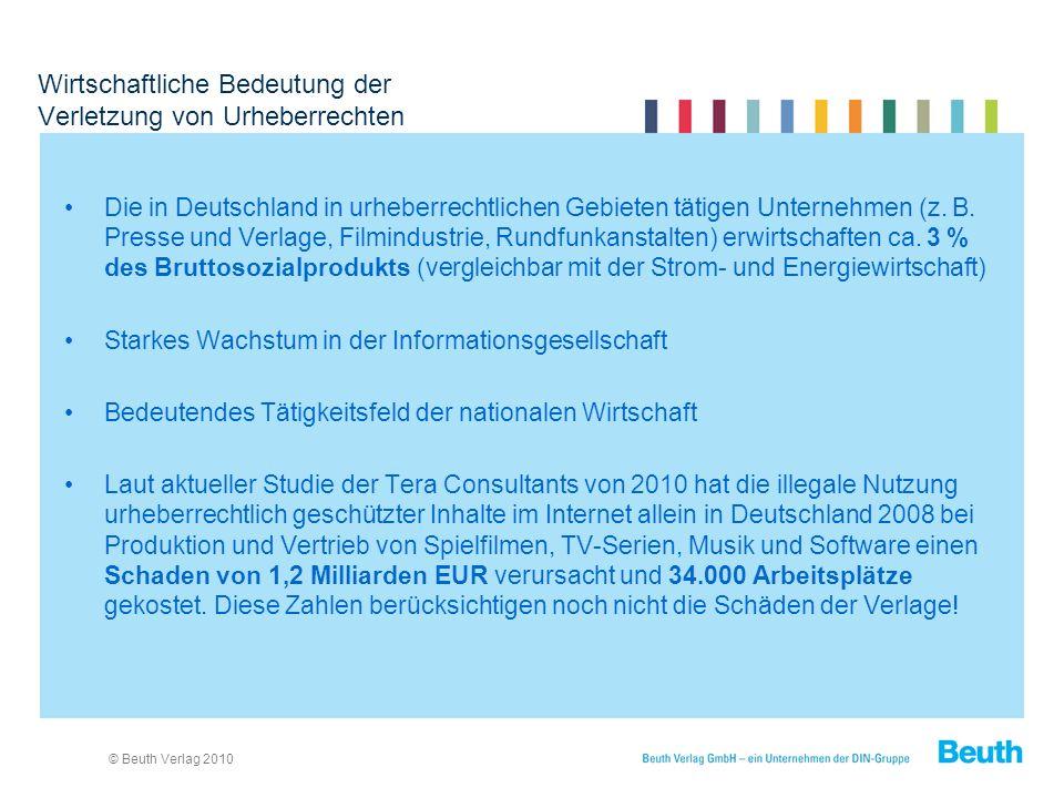 © Beuth Verlag 2010 Wirtschaftliche Bedeutung der Verletzung von Urheberrechten Die in Deutschland in urheberrechtlichen Gebieten tätigen Unternehmen (z.