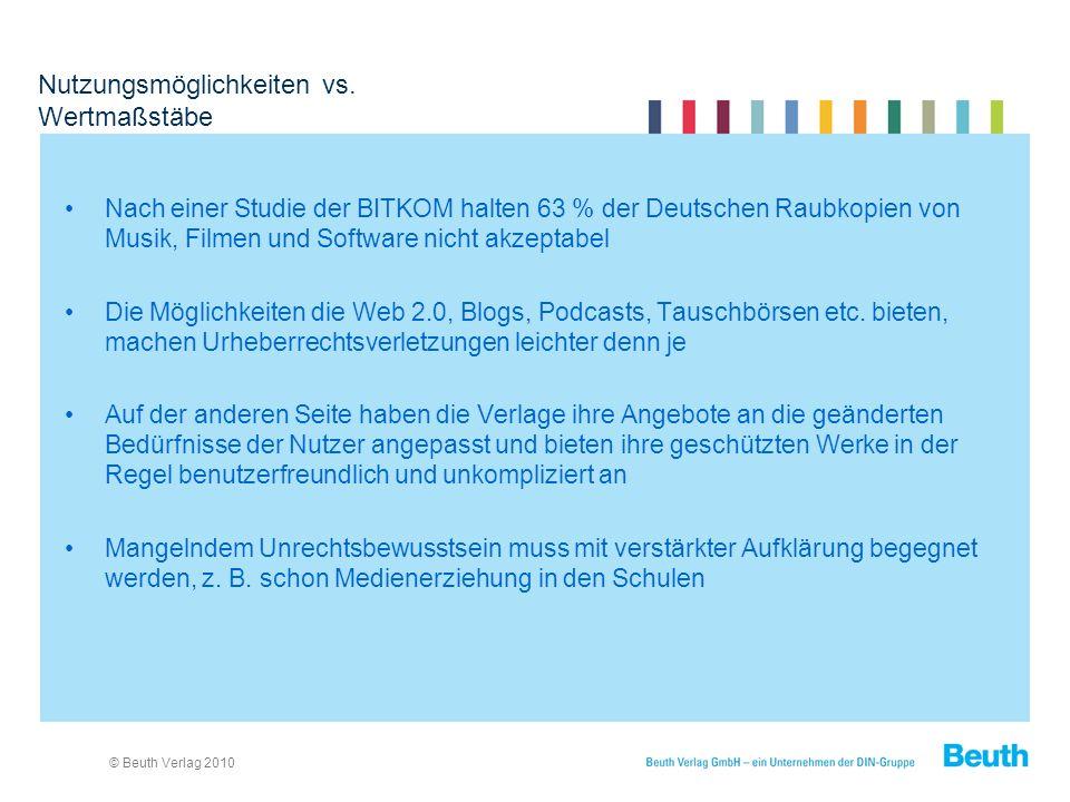 © Beuth Verlag 2010 Nutzungsmöglichkeiten vs.
