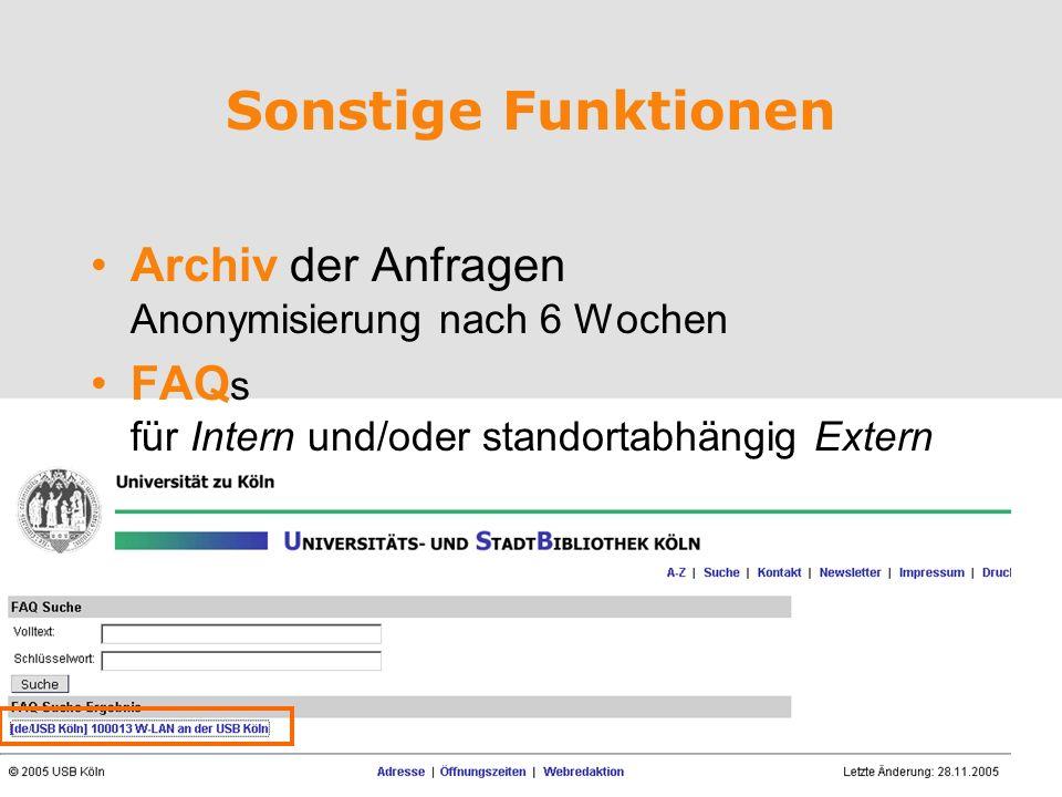 mayr@hbz-nrw.de Sonstige Funktionen Archiv der Anfragen Anonymisierung nach 6 Wochen FAQ s für Intern und/oder standortabhängig Extern