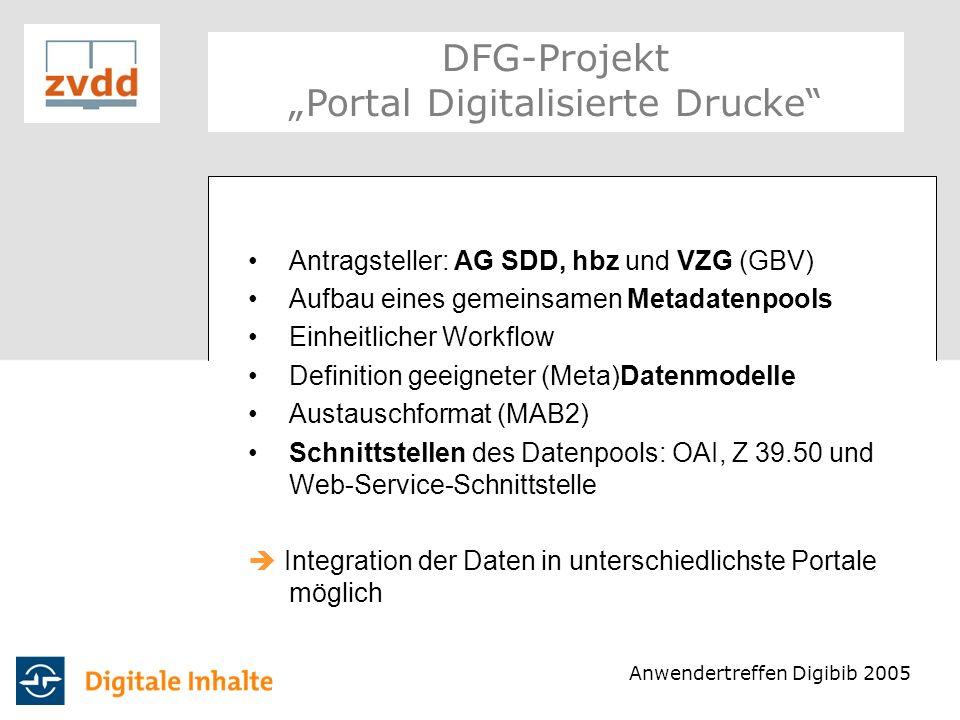 Struktur: gezielte Suche oder Browsing nach Zugängen (Beispiel: Orte, Autoren) oder nach DDC-Kategorien möglich Per Mausklick kann auch in den tieferen Ebenen von DDC gesucht / oder ein Browsing durchgeführt werden DFG-Projekt Portal Digitalisierte Drucke Anwendertreffen Digibib 2005
