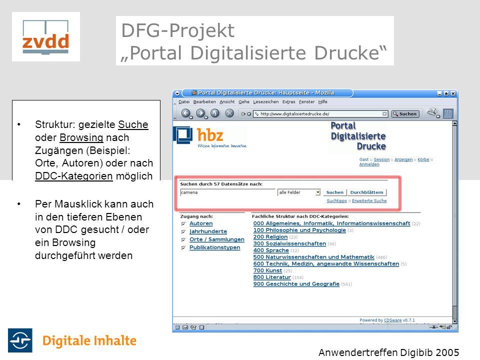 Struktur: gezielte Suche oder Browsing nach Zugängen (Beispiel: Orte, Autoren) oder nach DDC-Kategorien möglich Per Mausklick kann auch in den tiefere