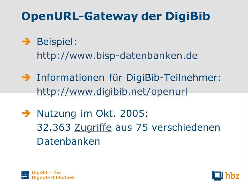 DigiBib - Die Digitale Bibliothek OpenURL-Gateway der DigiBib Beispiel: http://www.bisp-datenbanken.de http://www.bisp-datenbanken.de Informationen für DigiBib-Teilnehmer: http://www.digibib.net/openurl http://www.digibib.net/openurl Nutzung im Okt.