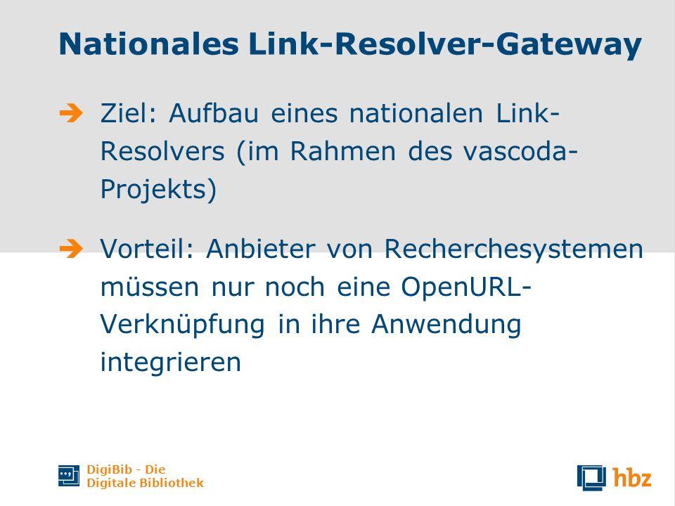 DigiBib - Die Digitale Bibliothek Nationales Link-Resolver-Gateway Ziel: Aufbau eines nationalen Link- Resolvers (im Rahmen des vascoda- Projekts) Vorteil: Anbieter von Recherchesystemen müssen nur noch eine OpenURL- Verknüpfung in ihre Anwendung integrieren