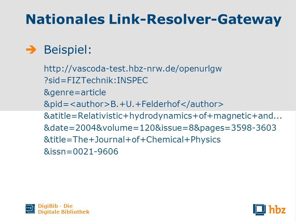 DigiBib - Die Digitale Bibliothek Nationales Link-Resolver-Gateway Beispiel: http://vascoda-test.hbz-nrw.de/openurlgw ?sid=FIZTechnik:INSPEC &genre=ar