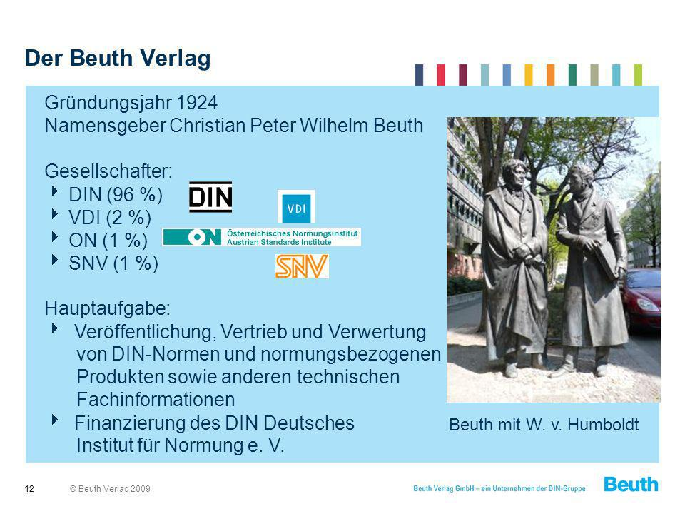 © Beuth Verlag 2009 Der Beuth Verlag 12 Gründungsjahr 1924 Namensgeber Christian Peter Wilhelm Beuth Gesellschafter: DIN (96 %) VDI (2 %) ON (1 %) SNV