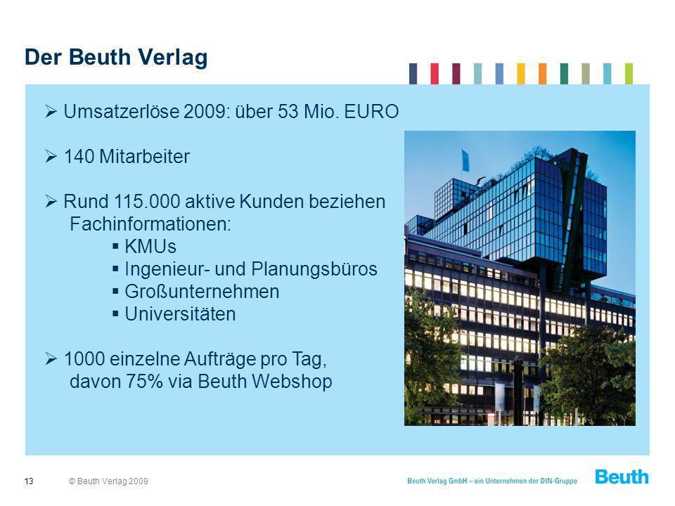 © Beuth Verlag 2009 Der Beuth Verlag 13 Umsatzerlöse 2009: über 53 Mio. EURO 140 Mitarbeiter Rund 115.000 aktive Kunden beziehen Fachinformationen: KM