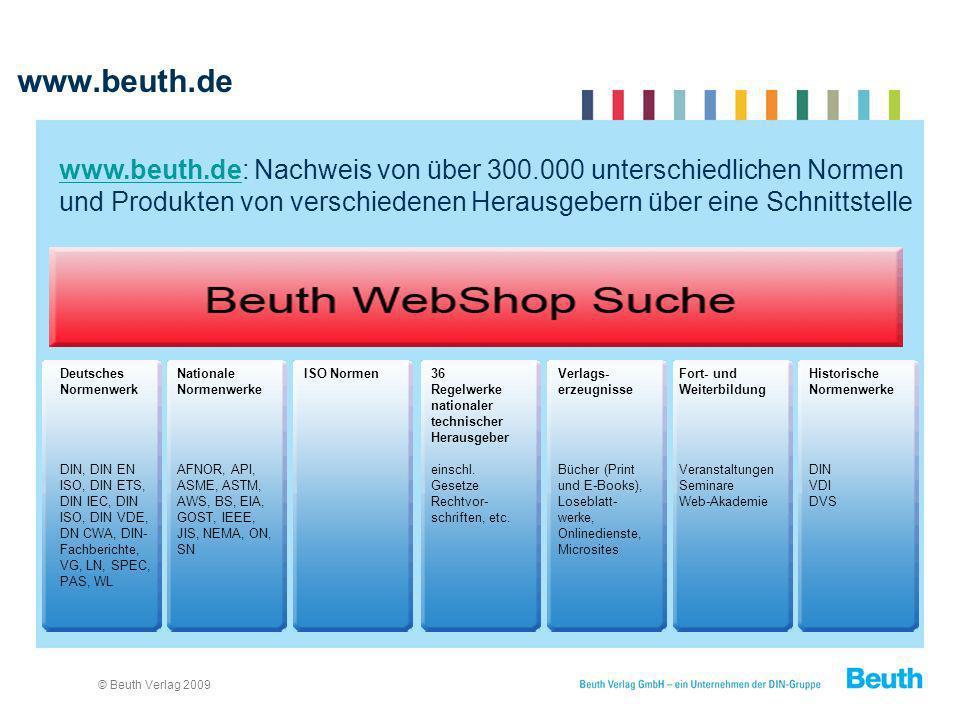 © Beuth Verlag 2009 www.beuth.de www.beuth.de: Nachweis von über 300.000 unterschiedlichen Normen und Produkten von verschiedenen Herausgebern über ei