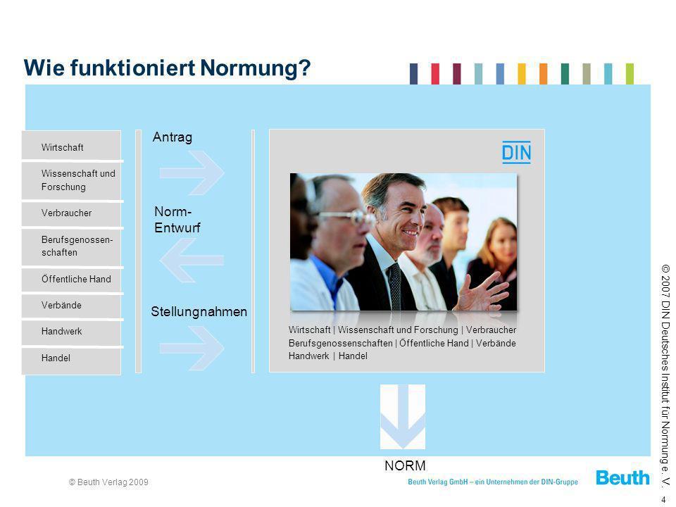 © Beuth Verlag 2009 4 Wie funktioniert Normung? © 2007 DIN Deutsches Institut für Normung e. V. Antrag Norm- Entwurf Stellungnahmen NORM Wirtschaft Wi
