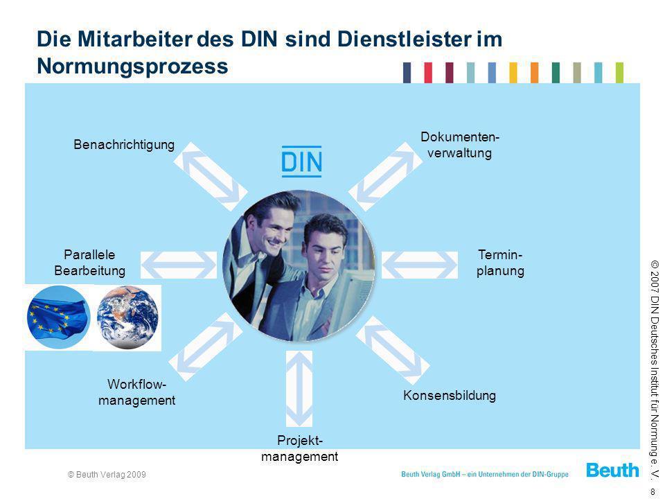 © Beuth Verlag 2009 8 © 2007 DIN Deutsches Institut für Normung e. V. Benachrichtigung Parallele Bearbeitung Termin- planung Konsensbildung Projekt- m