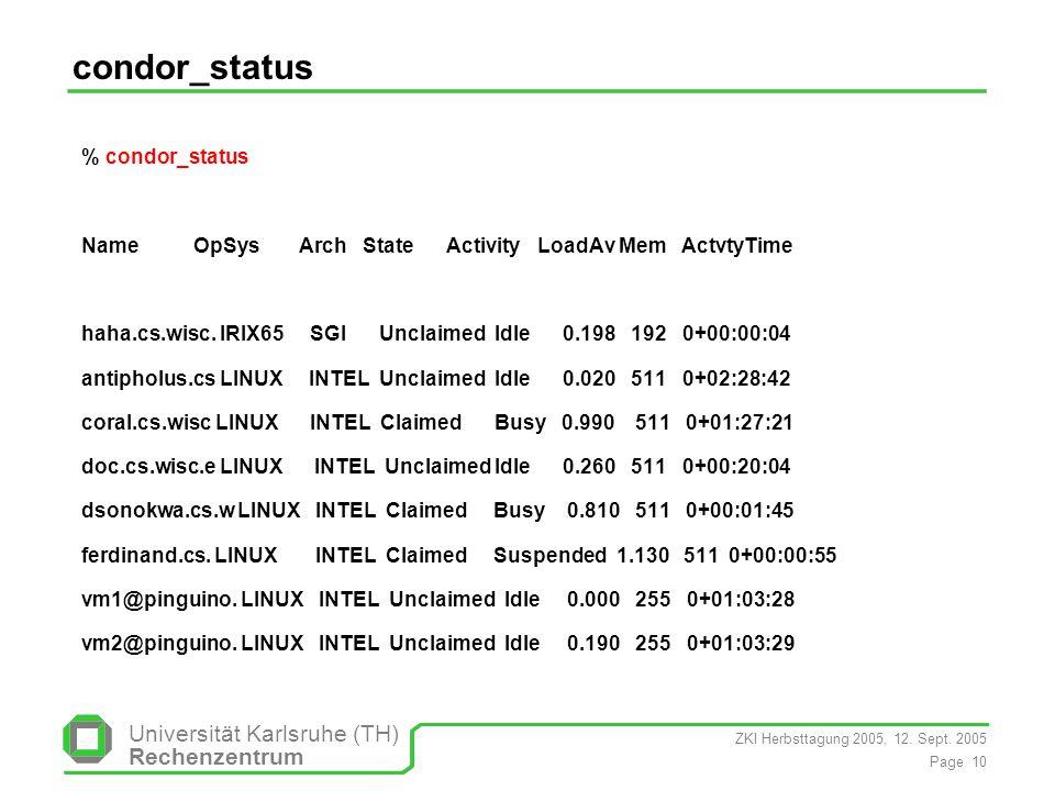 ZKI Herbsttagung 2005, 12. Sept. 2005 Page 10 Universität Karlsruhe (TH) Rechenzentrum condor_status % condor_status Name OpSys Arch State Activity Lo