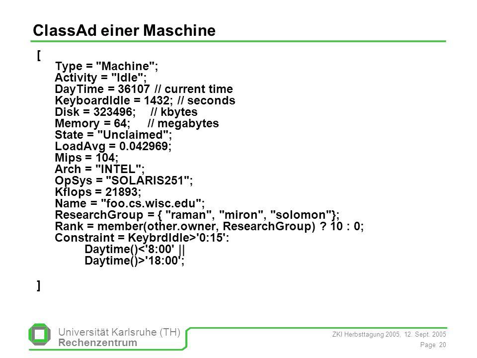 ZKI Herbsttagung 2005, 12. Sept. 2005 Page 20 Universität Karlsruhe (TH) Rechenzentrum ClassAd einer Maschine [ Type =