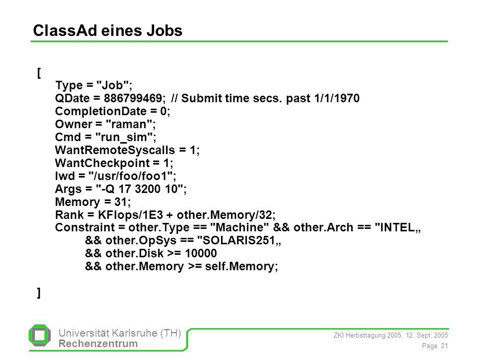 ZKI Herbsttagung 2005, 12. Sept. 2005 Page 21 Universität Karlsruhe (TH) Rechenzentrum ClassAd eines Jobs [ Type =