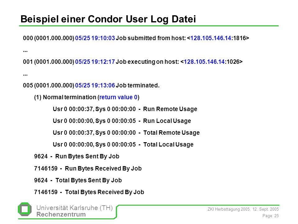 ZKI Herbsttagung 2005, 12. Sept. 2005 Page 25 Universität Karlsruhe (TH) Rechenzentrum Beispiel einer Condor User Log Datei 000 (0001.000.000) 05/25 1