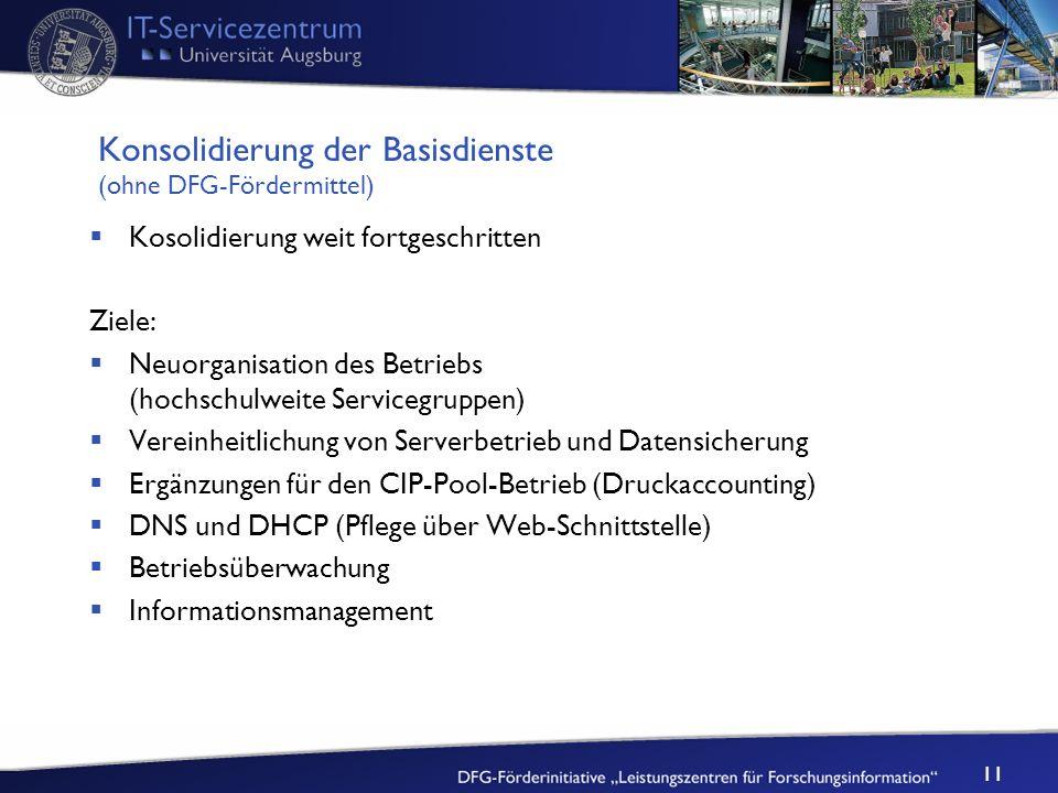 11 Konsolidierung der Basisdienste (ohne DFG-Fördermittel) Kosolidierung weit fortgeschritten Ziele: Neuorganisation des Betriebs (hochschulweite Serv