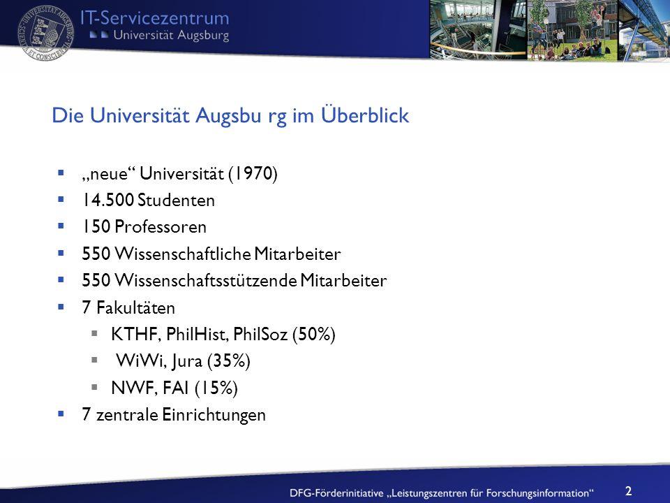 2 Die Universität Augsbu rg im Überblick neue Universität (1970) 14.500 Studenten 150 Professoren 550 Wissenschaftliche Mitarbeiter 550 Wissenschaftss
