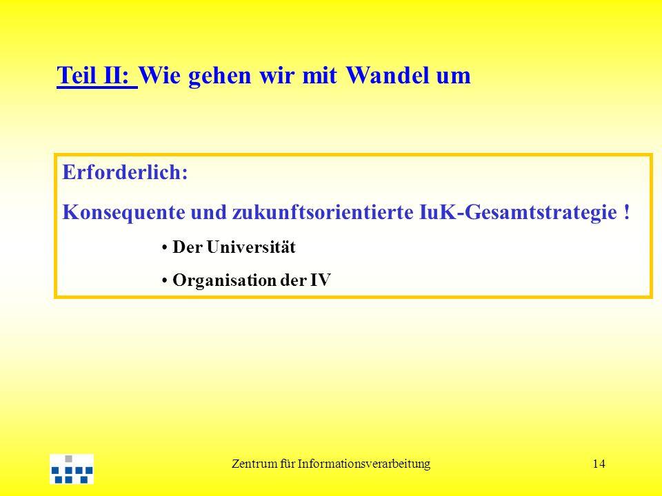 Zentrum für Informationsverarbeitung14 Erforderlich: Konsequente und zukunftsorientierte IuK-Gesamtstrategie .