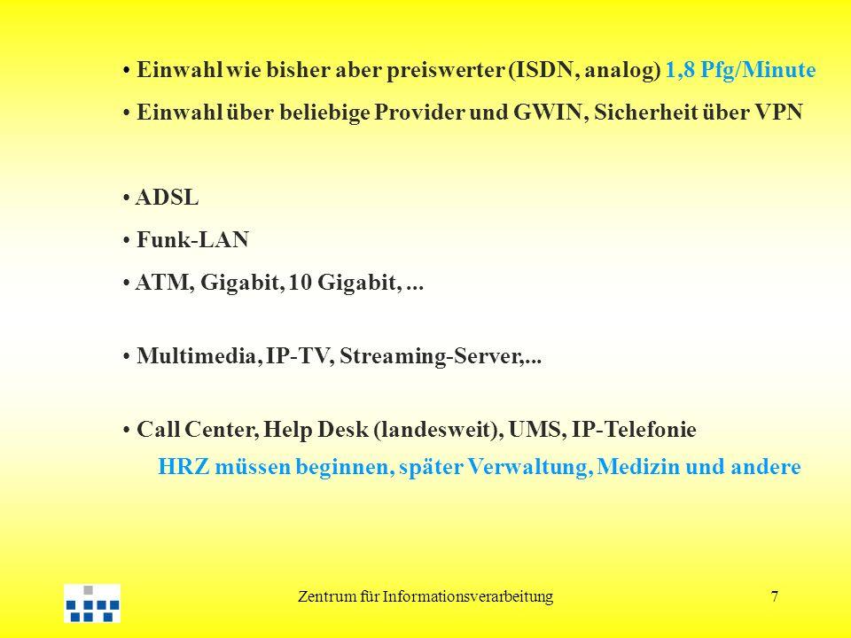 Zentrum für Informationsverarbeitung7 Einwahl wie bisher aber preiswerter (ISDN, analog) 1,8 Pfg/Minute Einwahl über beliebige Provider und GWIN, Sicherheit über VPN ADSL Funk-LAN ATM, Gigabit, 10 Gigabit,...