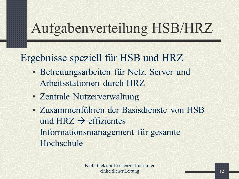 Bibliothek und Rechenzentrum unter einheitlicher Leitung12 Aufgabenverteilung HSB/HRZ Ergebnisse speziell für HSB und HRZ Betreuungsarbeiten für Netz, Server und Arbeitsstationen durch HRZ Zentrale Nutzerverwaltung Zusammenführen der Basisdienste von HSB und HRZ effizientes Informationsmanagement für gesamte Hochschule