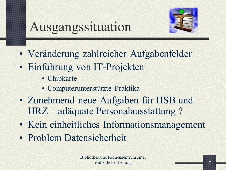Bibliothek und Rechenzentrum unter einheitlicher Leitung7 Ausgangssituation Veränderung zahlreicher Aufgabenfelder Einführung von IT-Projekten Chipkarte Computerunterstützte Praktika Zunehmend neue Aufgaben für HSB und HRZ – adäquate Personalausstattung .