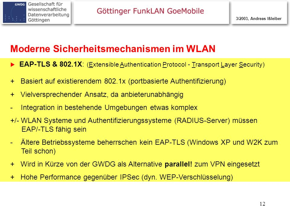 12 Moderne Sicherheitsmechanismen im WLAN EAP-TLS & 802.1X: (Extensible Authentication Protocol - Transport Layer Security) 3/2003, Andreas Ißleiber +