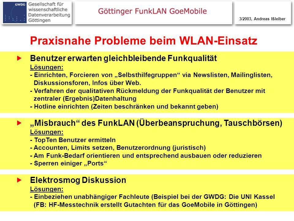 17 Praxisnahe Probleme beim WLAN-Einsatz Benutzer erwarten gleichbleibende Funkqualität Lösungen: - Einrichten, Forcieren von Selbsthilfegruppen via N
