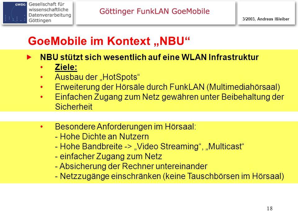 18 GoeMobile im Kontext NBU NBU stützt sich wesentlich auf eine WLAN Infrastruktur Ziele: Ausbau der HotSpots Erweiterung der Hörsäle durch FunkLAN (M