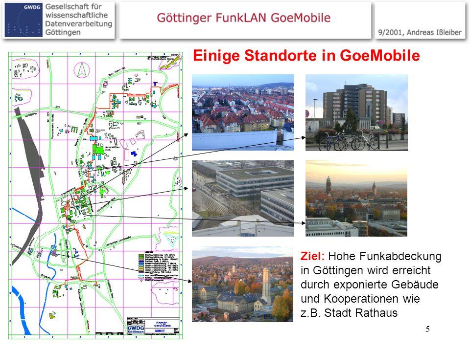 5 Einige Standorte in GoeMobile Ziel: Hohe Funkabdeckung in Göttingen wird erreicht durch exponierte Gebäude und Kooperationen wie z.B. Stadt Rathaus