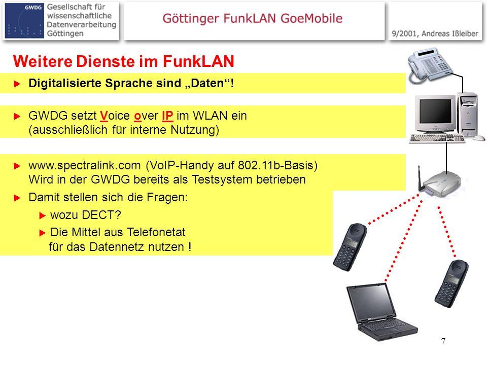 7 Weitere Dienste im FunkLAN Digitalisierte Sprache sind Daten! GWDG setzt Voice over IP im WLAN ein (ausschließlich für interne Nutzung) www.spectral