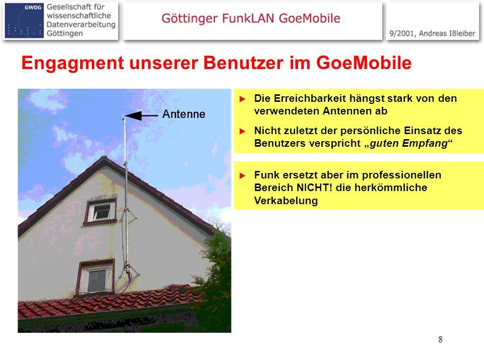 8 Engagment unserer Benutzer im GoeMobile Die Erreichbarkeit hängst stark von den verwendeten Antennen ab Nicht zuletzt der persönliche Einsatz des Be