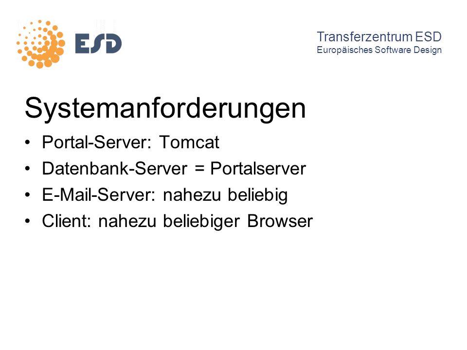 Systemanforderungen Portal-Server: Tomcat Datenbank-Server = Portalserver E-Mail-Server: nahezu beliebig Client: nahezu beliebiger Browser Transferzen