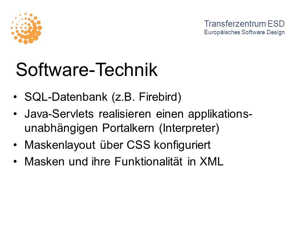 Software-Technik SQL-Datenbank (z.B. Firebird) Java-Servlets realisieren einen applikations- unabhängigen Portalkern (Interpreter) Maskenlayout über C