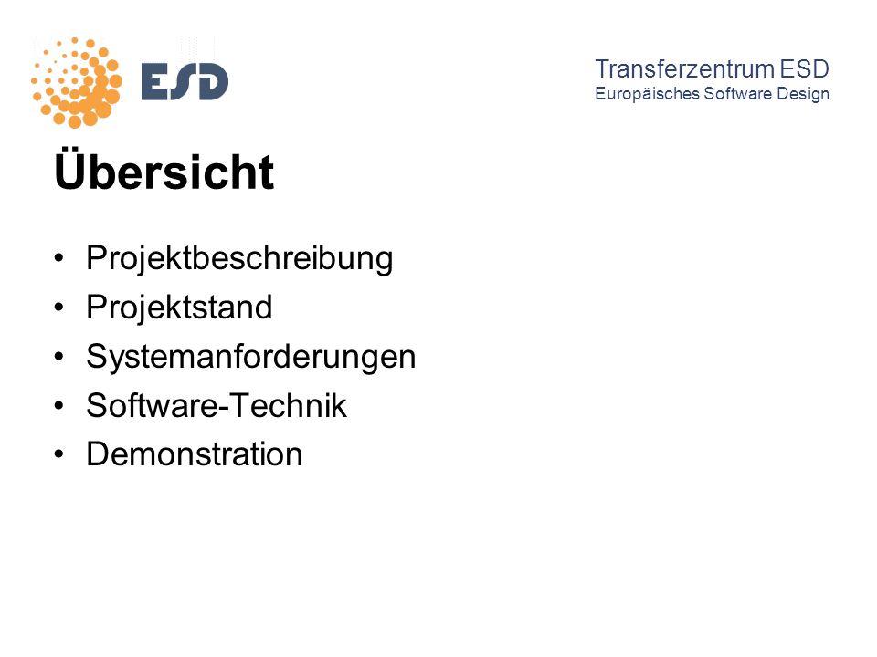Übersicht Projektbeschreibung Projektstand Systemanforderungen Software-Technik Demonstration Transferzentrum ESD Europäisches Software Design