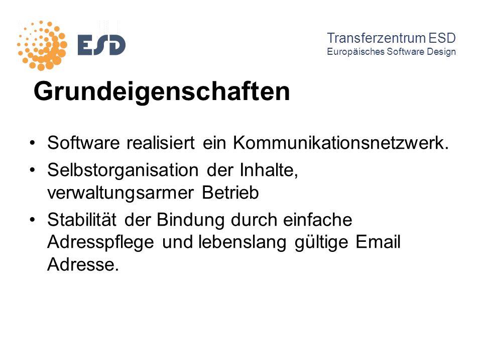 Grundeigenschaften Software realisiert ein Kommunikationsnetzwerk. Selbstorganisation der Inhalte, verwaltungsarmer Betrieb Stabilität der Bindung dur