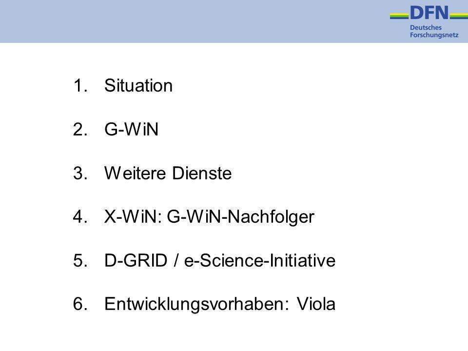 1.Situation 2.G-WiN 3.Weitere Dienste 4.X-WiN: G-WiN-Nachfolger 5.D-GRID / e-Science-Initiative 6.Entwicklungsvorhaben: Viola