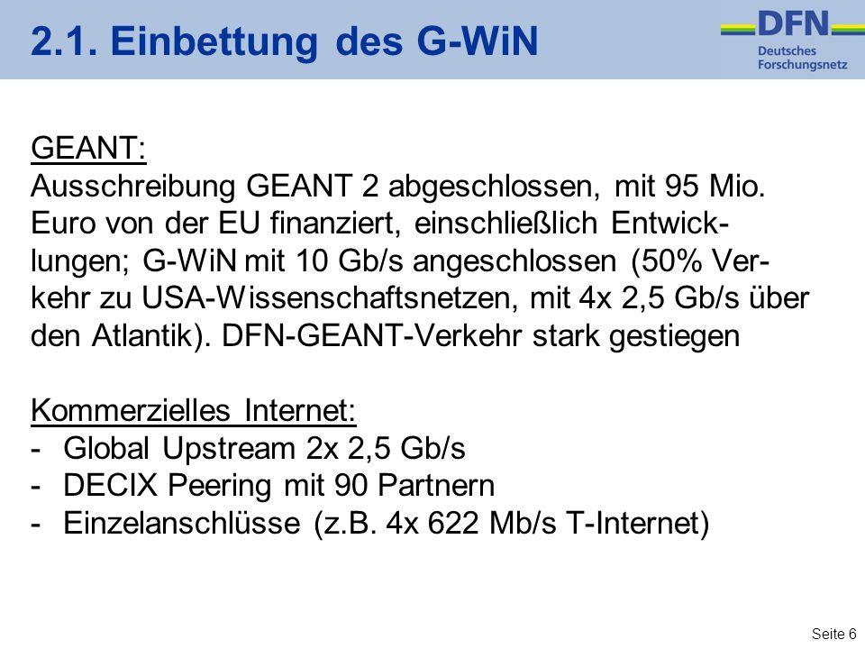 Seite 6 2.1. Einbettung des G-WiN GEANT: Ausschreibung GEANT 2 abgeschlossen, mit 95 Mio.