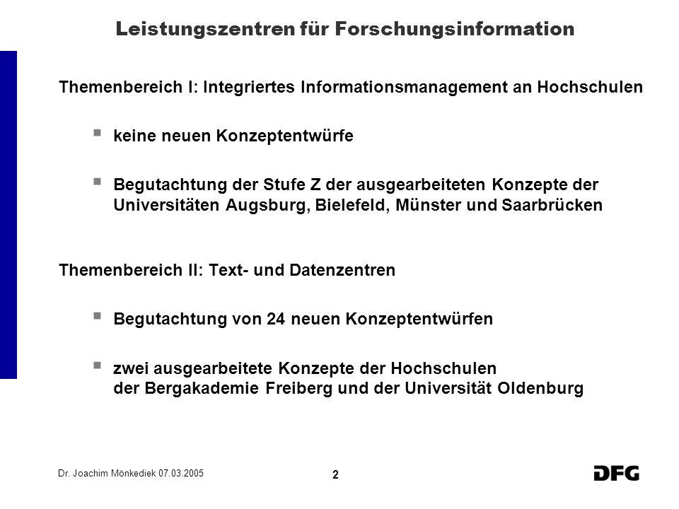 Dr. Joachim Mönkediek 07.03.2005 2 Leistungszentren für Forschungsinformation Themenbereich I: Integriertes Informationsmanagement an Hochschulen kein
