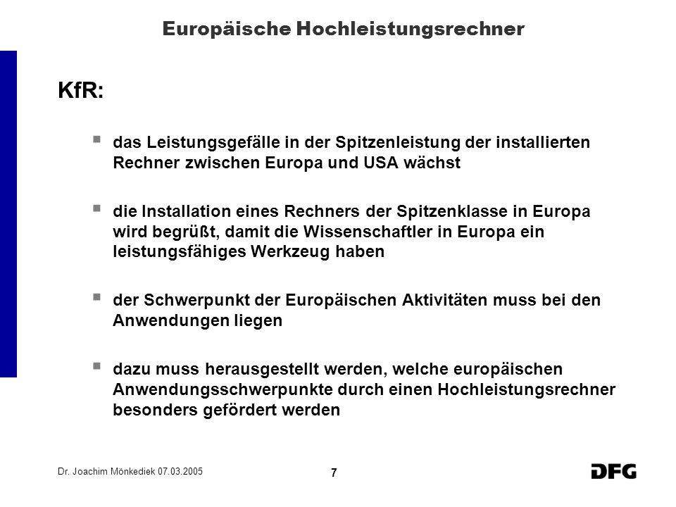 Dr. Joachim Mönkediek 07.03.2005 7 Europäische Hochleistungsrechner KfR: das Leistungsgefälle in der Spitzenleistung der installierten Rechner zwische