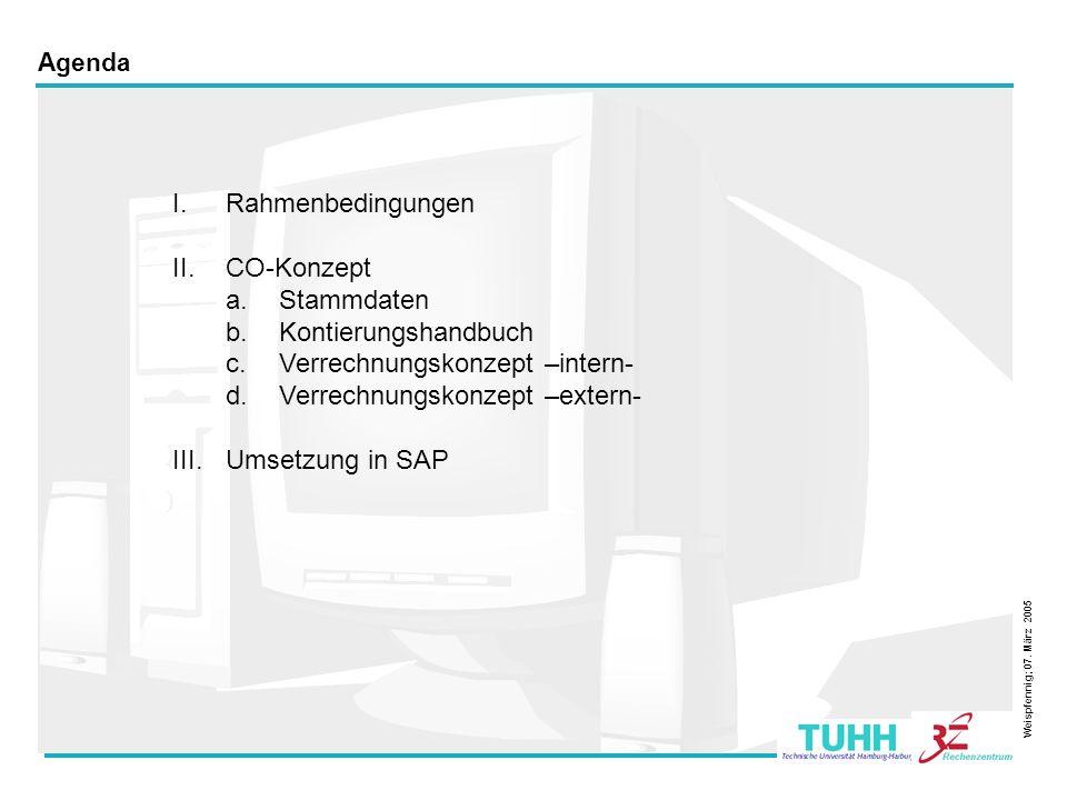 2 Agenda I.Rahmenbedingungen II.CO-Konzept a.Stammdaten b.Kontierungshandbuch c.Verrechnungskonzept –intern- d.Verrechnungskonzept –extern- III.Umsetz