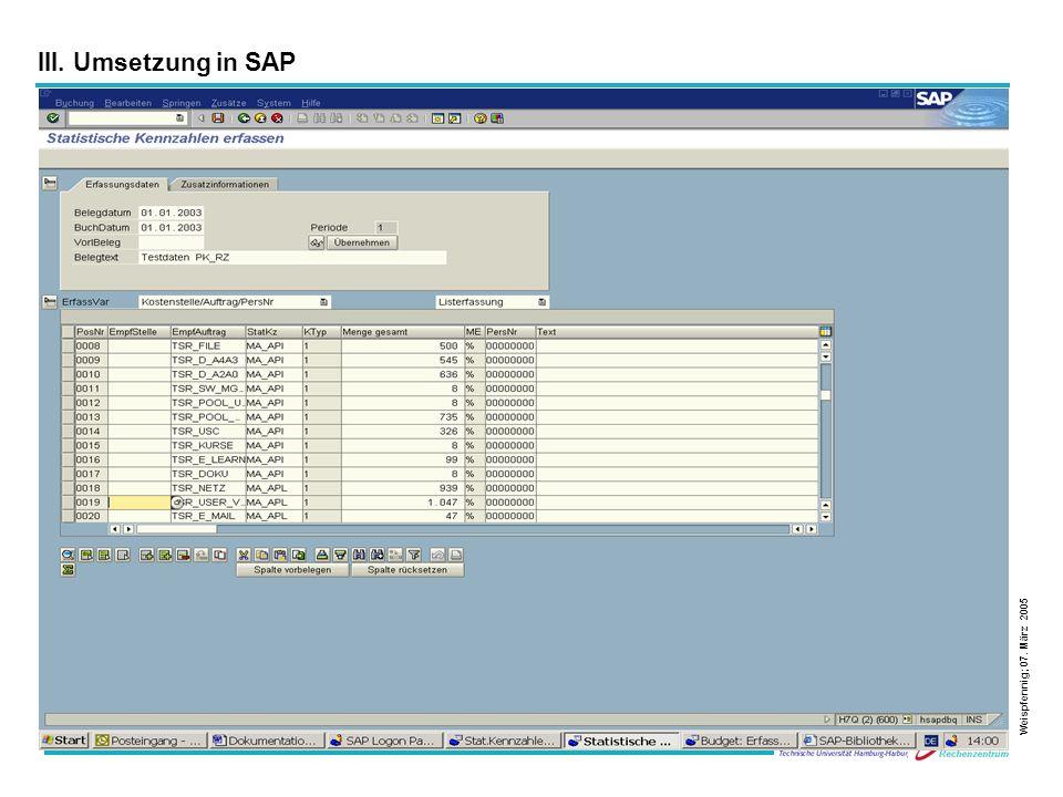 21 III. Umsetzung in SAP Weispfennig; 07. März 2005