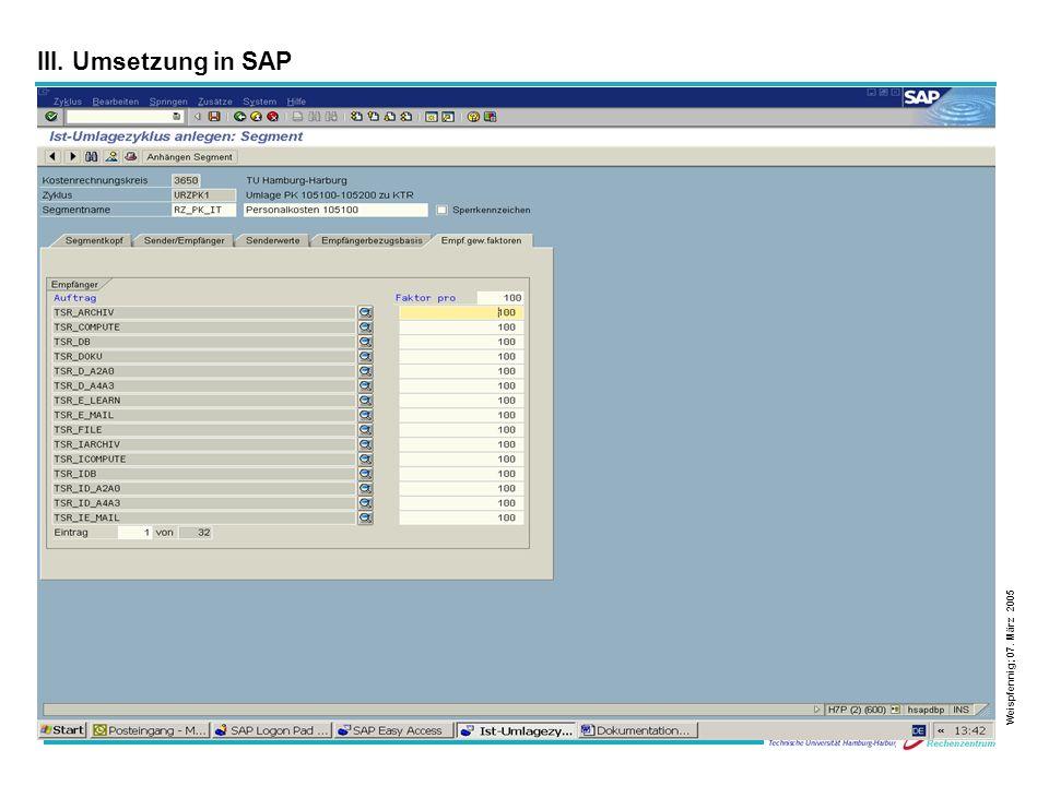 28 Weispfennig; 07. März 2005 III. Umsetzung in SAP