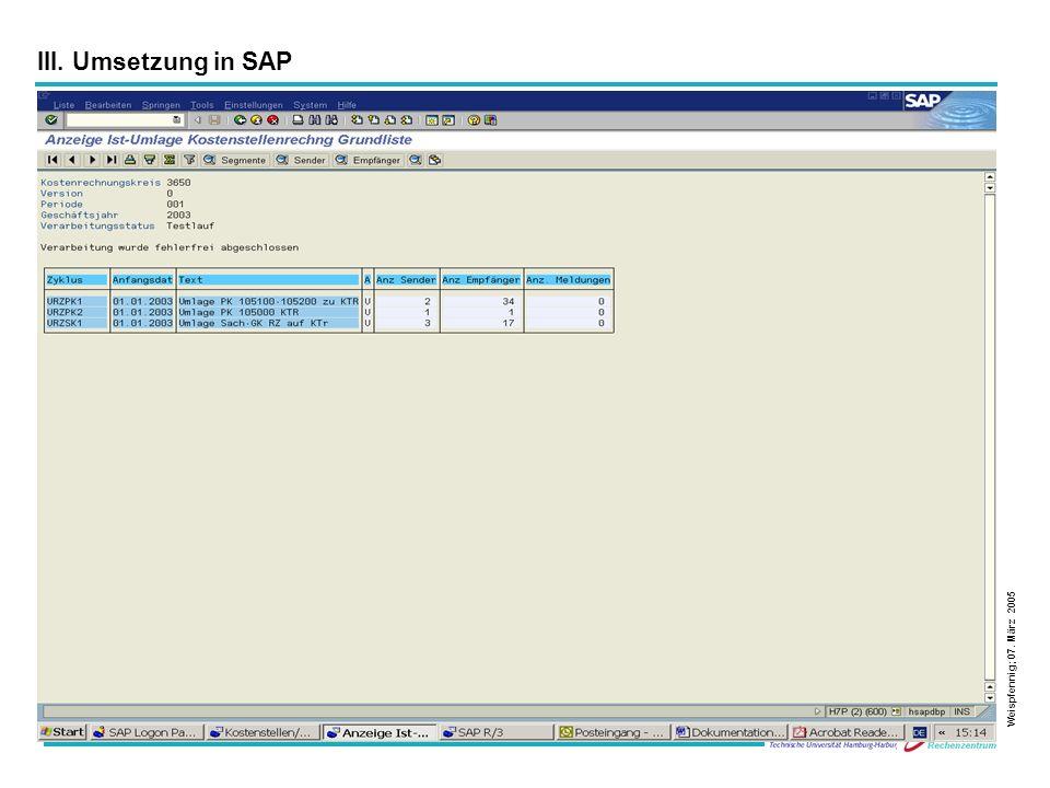 29 Weispfennig; 07. März 2005 III. Umsetzung in SAP