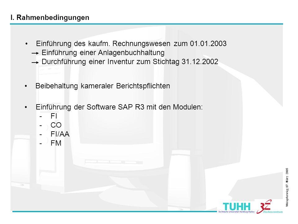 3 I. Rahmenbedingungen Einführung des kaufm. Rechnungswesen zum 01.01.2003 Einführung einer Anlagenbuchhaltung Durchführung einer Inventur zum Stichta